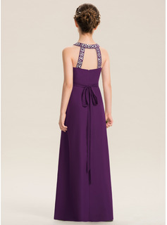 Scoop Neck Floor-Length Chiffon Junior Bridesmaid Dress With Beading Bow(s)