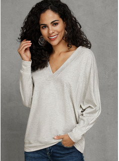 Solid V-neck Knit Tops Sweaters