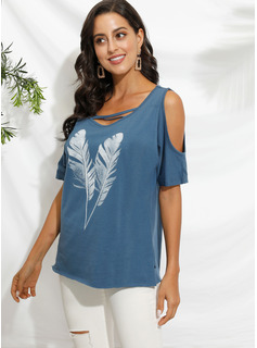 Short Sleeves Polyester Cold Shoulder Blouses