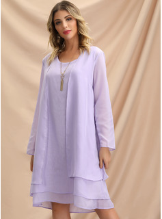 Chiffon Knee Length Dress