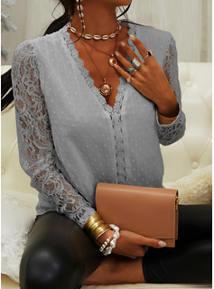 Regular Fitted Lace Solid Elegant Long Sleeves Puff Sleeves