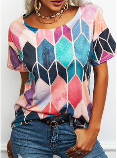 Regular Cotton Blends Round Neck Geometric Print Fitted Blouses