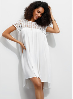 Viscose With Lace/Solid Above Knee Dress