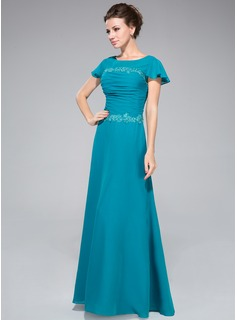 Sheath/Column Scoop Neck Floor-Length Chiffon Mother of the Bride Dress With Ruffle Lace Sequins
