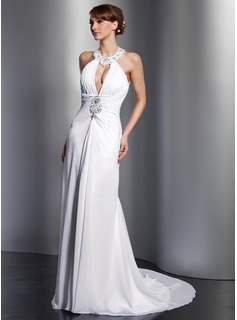A-Line/Princess Halter Court Train Chiffon Wedding Dress With Ruffle Lace Beading Sequins