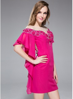 Sheath/Column Off-the-Shoulder Short/Mini Chiffon Holiday Dress With Beading Flower(s) Cascading Ruffles