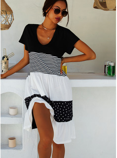 Color Block PolkaDot Striped Shift V-Neck Short Sleeves Midi Casual T-shirt Dresses