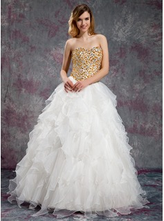 Ball-Gown Sweetheart Floor-Length Organza Prom Dresses With Beading Cascading Ruffles
