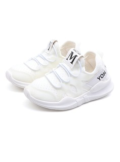 Girl's Round Toe Closed Toe Fabric Flat Heel Flats Sneakers & Athletic With Lace-up