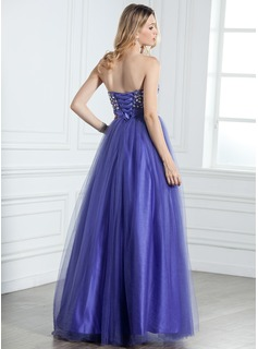 A-Line/Princess Sweetheart Floor-Length Tulle Quinceanera Dress With Ruffle Beading