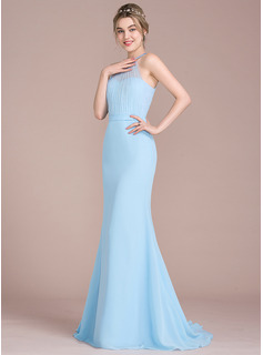 Trumpet/Mermaid Scoop Neck Sweep Train Chiffon Tulle Bridesmaid Dress