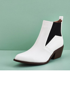 Women's Leatherette Chunky Heel Ankle Boots Pointed Toe With Splice Color shoes