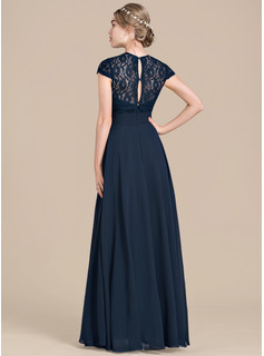 A-Line/Princess Sweetheart Floor-Length Chiffon Lace Bridesmaid Dress With Ruffle