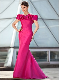 Trumpet/Mermaid Off-the-Shoulder Sweep Train Taffeta Prom Dresses With Ruffle