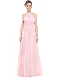 Chiffon Halter-neck Floor-length Bridesmaid Dress
