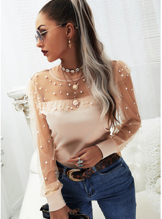 Regular Cotton Blends Round Neck Beaded Solid Fitted Blouses