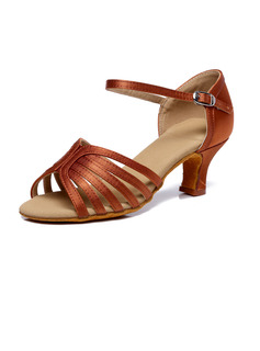 Women's Satin Heels Ballroom With Lace-up Dance Shoes