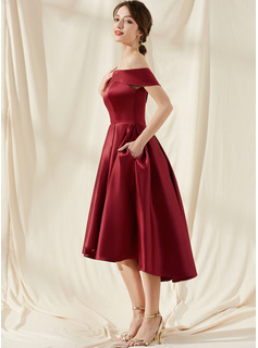 A-Line Off-the-Shoulder Asymmetrical Satin Homecoming Dress With Pockets