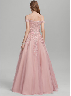 Ball-Gown/Princess Off-the-Shoulder Floor-Length Tulle Prom Dresses With Beading