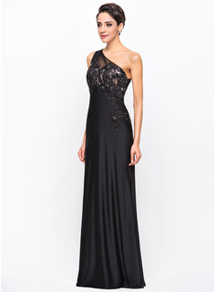 Trumpet/Mermaid One-Shoulder Floor-Length Jersey Evening Dress With Beading Appliques Lace