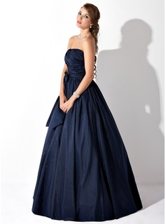 Ball-Gown Strapless Floor-Length Taffeta Prom Dresses With Ruffle Bow(s)