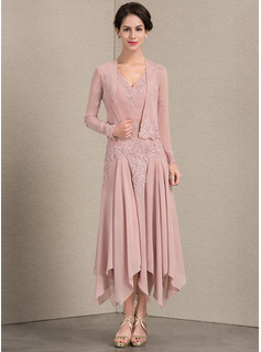 A-Line V-neck Ankle-Length Chiffon Mother of the Bride Dress With Appliques Lace Sequins