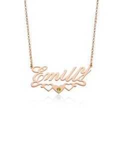 Custom 18k Rose Gold Plated Letter Name Necklace Birthstone Necklace With Heart Birthstone - Birthday Gifts