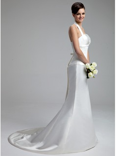 Trumpet/Mermaid Halter Court Train Satin Wedding Dress With Ruffle Bow(s)