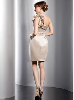 Sheath/Column One-Shoulder Short/Mini Satin Wedding Dress With Beading Cascading Ruffles