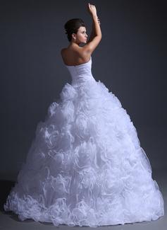 プリンセスライン1 スイートハート マキシレングス オーガンザ ウエディングドレス とともに ラッフル ビーズ細工