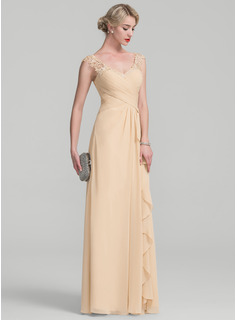 A-Line V-neck Floor-Length Chiffon Lace Mother of the Bride Dress With Split Front Cascading Ruffles