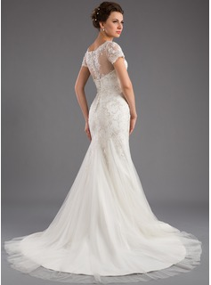 Trumpet/Mermaid Scoop Neck Court Train Tulle Lace Wedding Dress With Sequins