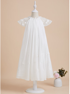 A-Line Tea-length Flower Girl Dress - Chiffon Short Sleeves Scoop Neck With Lace/Beading/Flower(s)