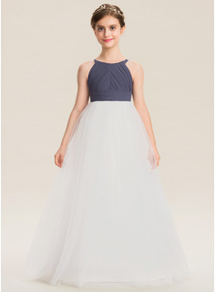 Scoop Neck Floor-Length Chiffon Tulle Junior Bridesmaid Dress With Ruffle