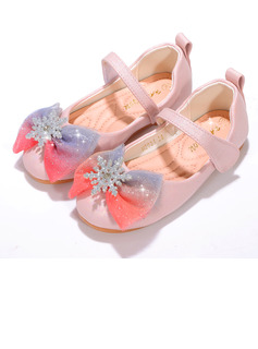 Girl's Closed Toe Leatherette Flat Heel Flower Girl Shoes With Bowknot