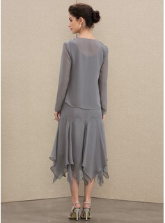 A-Line V-neck Tea-Length Chiffon Mother of the Bride Dress With Lace Cascading Ruffles