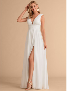 V-neck Floor-Length Chiffon Wedding Dress With Split Front