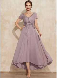 A-Line V-neck Asymmetrical Chiffon Lace Mother of the Bride Dress With Beading