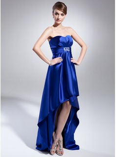Empire Sweetheart Asymmetrical Charmeuse Evening Dress With Beading Sequins