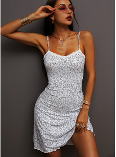 Floral Lace Print Sheath Spaghetti Straps Sleeveless Midi Casual Vacation Type Dresses