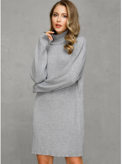 Cable-knit Chunky knit Solid Polyester Turtleneck Pullovers Sweater Dresses Sweaters