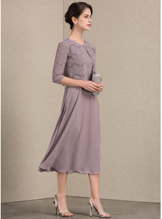 A-Line Scoop Neck Tea-Length Chiffon Mother of the Bride Dress With Ruffle