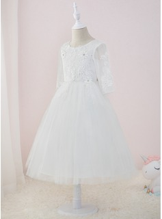 Ball-Gown/Princess Tea-length Flower Girl Dress - Tulle/Lace Long Sleeves Scoop Neck With Beading/Flower(s)