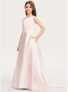 Scoop Neck Sweep Train Satin Lace Junior Bridesmaid Dress With Bow(s) Pockets