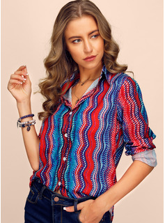 Regular Striped Button Up Casual Long Sleeves