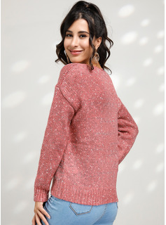 Chunky knit Solid Polyester V-neck Pullovers Sweaters