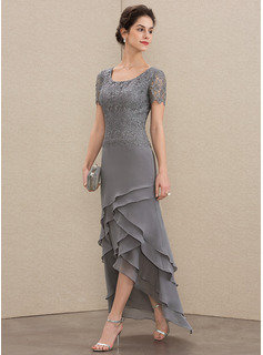 Scoop Neck Asymmetrical Chiffon Lace Mother of the Bride Dress With Cascading Ruffles