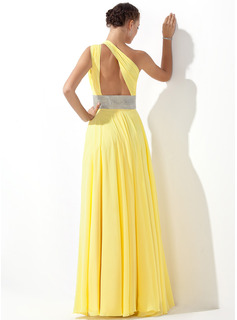 A-Line One-Shoulder Floor-Length Chiffon Prom Dresses With Ruffle Beading