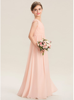 V-neck Floor-Length Chiffon Lace Junior Bridesmaid Dress With Ruffle