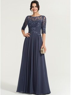A-Line Scoop Neck Floor-Length Chiffon Evening Dress With Sequins